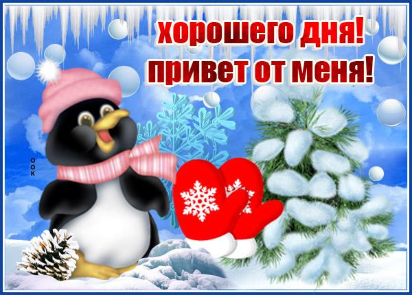 Открытка картинка хорошего дня привет от меня с зимой