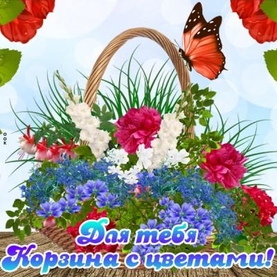 Открытка картинка  с корзиной цветов