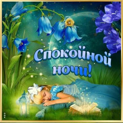 Открытка картинка спокойной ночи с синими цветками